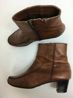 WOMENS FOOTGLOVE BROWN FAUX LEATHER SIDE ZIP HIGH HEEL ANKLE BOOTS SHOES UK 5