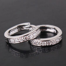 Beautiful 18Ct White Gold Filled White Sapphire Crystal Huggie Shaped Earrings