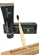 Charcole Whitening Toothpaste Activated Charcoal Tooth Paste + Bamboo Toothbrush