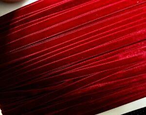 "Vintage 3/8"" Velvet Ribbon Xmas Red Trim  3yds Made in Switzerland"