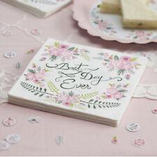 Wedding Paper Napkins BEST DAY EVER Floral Vintage Style x 20 Celebration