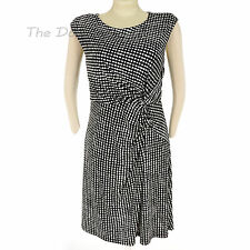 212 COLLECTION Women's LARGE Polka Dot BLACK & WHITE DRESS Gathered Twist DRAPE