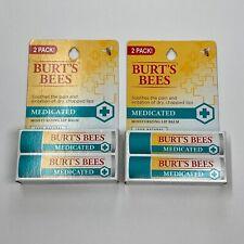 Burt's Bees 100 Percent Natural Medicated Moisturizing Lip Balm - 4 Pack NEW
