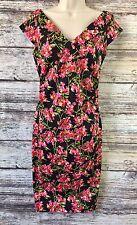 Maggy London Vintage Cut Floral Black Dress Size 6