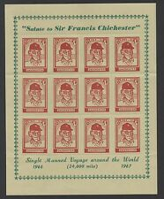 1969 Francis Chichester. Complete sheet x 12 Cinderalla Stamps. Fine and scarce!