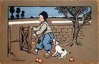 1910 Ethel Parkinson/Artist-Signed Color Litho Postcard: Boy, Dog, Apples