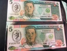 RARE 2 PHILIPPINES 5 Pesos bank note UNC overprint KABABAIHAN PER SA KAUNLARAN