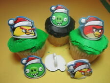 12 Angry Birds Christmas Cupcake Rings Toppers Designer Decorations Party Favors