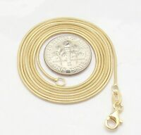 1mm Technibond Shiny Snake Chain Necklace 14K Yellow Gold Clad Real 925 Silver