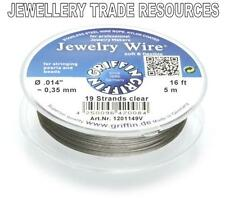 """GRIFFIN NYLON COATED STEEL BEADING & PEARL WIRE .014"""" / 0.35mm 16 FT. 19 STRAND"""