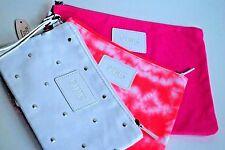 Cosmetic bags zip up Victorias secret Pink lot 3 makeup pink white orange NWT
