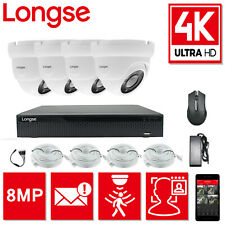 LONGSE 8MP 4CH POE NVR CCTV SYSTEM DOME CAMERA FACE DETECTION AND COMPARISON KIT