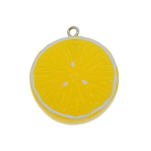 12 pcs Yellow Resin Lemon Piece Fruit Charms Pendants Crafts Findings 27x31 mm