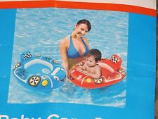 True Living Baby Care Seat Inflatable Swimming Pool Float Blue Car NEW