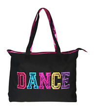 Girls Dance Tote Bag With Multicolored Dance Print Black