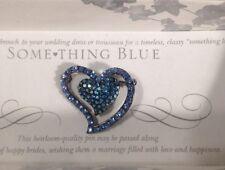 New Hortense B. Hewitt, Co. Something Blue Heart-Shaped Rhinestone Pin