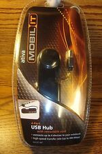 MOBIL IT high-speed 4-Port USB HUB with Retractable Cord  * Connects 4 Devices