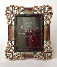 Vintage Muticoured Enamel Crystal Photo Frame Victorian Retro Art Deco Pink Blue