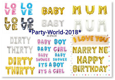 """16"""" Gold Silver Blue Pink Letters Foil Balloons Custom Words Air Fill Baloons"""