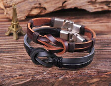 S510 Retro Classic Genuine Leather Braided Bracelet Wristband Men's Cuff B&K 2PC