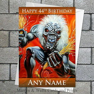 Iron Maiden birthday card. 5x7 inches. Personalised, plus envelope.