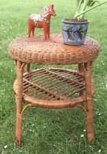 Vintage Cane Bamboo Wicker Rattan Plant Stand Stool Circular Side Table