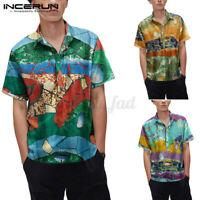 Men's Short Sleeved Hawaiian Floral Beach Linen Shirts Button Up Tops Tee Blouse