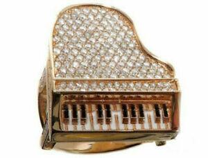 3.00 Ct Round Cut Diamond Men's Fashion Jewelry Piano Ring 14K Rose Gold Over