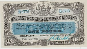 P126b BELFAST BANKING COMPANY LIMITED ONE POUND BANKNOTE IN MINT CONDITION 1939