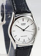 Casio MTP1094E-7A Men's Analog Watch Black Leather Band White FAce Quartz New