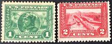 1913 1c & 2c Panama-Pacific commemorative singles, Scott #397-398, Used