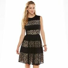 Brand NWT Suite 7 Lace Stripe Fit & Flare Dress - Black (Size - 8) + Free Ship