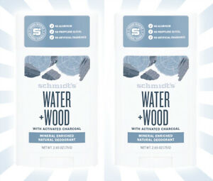 2 Schmidt's Water + Wood w/ Activated Charcoal Natural Deodorant 2.65 OZ