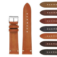 StrapsCo Hand-Stitched Vintage Washed Leather Watch Band - Quick Release Strap