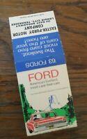 Vtg Matchbook '63 Fords Galaxie Easter Purdy Motor Company Lenoir City Tn #109