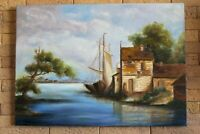 oil painting wall art decor seascape landscape canvas nautical colorful italy