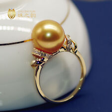 Noblest AAA+ 11-12mm real natural Gold South Sea round pearl rings 18k gold 7.5#