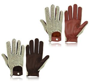 CLASSIC VINTAGE MENS DRIVING GLOVES CYCLING BIKE QUALITY SOFT GENUINE LEATHER