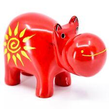 "Hand Carved Kisii Soapstone ""Crimson Sunshine"" Red Hippopotamus Hippo Figure"