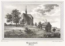 BEIERSDORF (EBERSBACH) - DORFKIRCHE VON DER STRASSE - Lithografie 1841