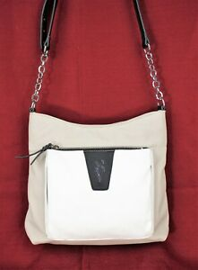 SIMPLY VERA Faux Leather Crossbody Shoulder Bag Purse by Vera Wang Gray White