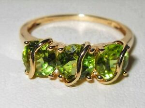 Lovely Gems TV 9ct Yellow Gold Three Stone Peridot Gemstone Unusual Trilogy Ring