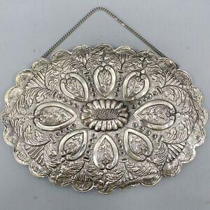 900 Silver Vintage Floral Repousse Marked OZEL Turkish Wedding Hanging Mirror