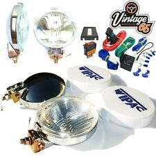 Classic Car Chrome Spot Lights Driving Lamps + Covers & 12v Switched Wiring Kit
