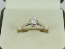Diamond Solitaire Ring 18ct White Gold Ladies Size I 1/4 750 2.7g Fe8