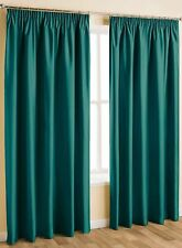 THERMAL BLACKOUT PENCIL PLEAT READY MADE CURTAINS PAIR TAPE TOP + FREE TIE BACKS