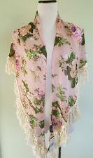 Steve Madden pink floral triangle scarf shoulder cover up
