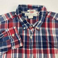 LOGG H&M Button Up Shirt Men's Size XL Long Sleeve Red Blue White Plaid Cotton