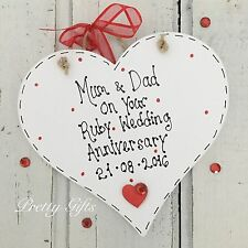 Personalised Ruby Wedding Anniversary 40 Years Heart Plaque Keepsake Gift