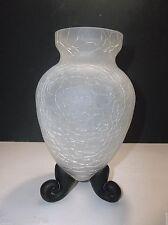 """Vintage Studio CRACKLE Glass Vase PURPLE Feet 8"""""""